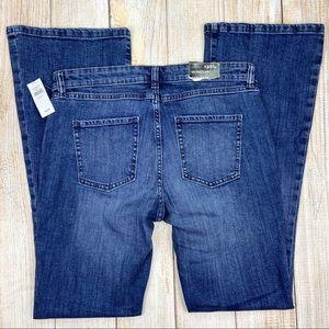 New GAP Blue Mid Rise Flare Jeans Stretch Denim